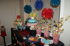 Vintage circus - dipped pretzel rods and cupcake cone idea, , , Does Bre still have gumball machine?