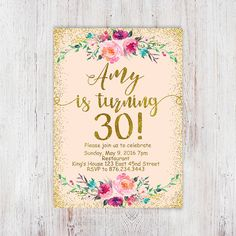 Birthday Floral, Mint gold birthday invitation, glitter birthday party invitation for women,turquoise gold printable digital file - Glitter Birthday Parties, 30th Birthday Parties, Gold Birthday, Birthday Ideas, Fifty Birthday, 30th Party, Mother Birthday, Fabulous Birthday, 21st Birthday Invitations