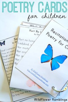 Cards: Poetry for Children {free printable poetry cards for children -- free printable! -- from wildflower ramblingspoetry cards for children -- free printable! -- from wildflower ramblings Poetry Books For Kids, Poetry Unit, Poetry Activities, Language Activities, Poetry Lessons, National Poetry Month, Teaching Poetry, Phonics, Just In Case