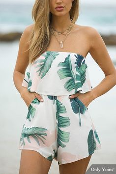 Tkria Women Sexy Off Shoulder Floral Printed Playsuit One Piece Summer Strapless Romper Beach Short Jumpsuit Rompers & Overalls, Shoes & Jewelry, Teenage Outfits, Teen Fashion Outfits, Outfits For Teens, Girl Fashion, Fashion Women, Trendy Fashion, Cute Casual Outfits, Cute Summer Outfits, Summer Holiday Clothes