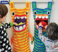 Hungry Monster Laundry Bags Ever wonder where those socks go? Well the hungry monster laundry bag eats them! Try this fun DIY craft, make a kid a laundry bag so they always keep tidy and clean. (Diy Gifts For Kids) 40 Diy Gifts, Diy Gifts For Kids, Diy For Kids, Crafts For Kids, Gift Bag Storage, Kids Room Accessories, Fun Diy Crafts, Sewing For Beginners, Sewing For Kids