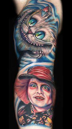 Great Alice In Wonderland Sleeve by Roman Abrego #InkedMagazine #tattoo #tattoos #inked #ink #art #AliceInWonderland