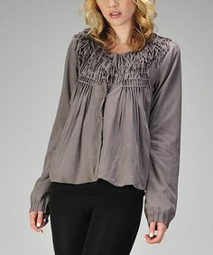Take a look at this Charcoal Faux Suede Fringe Jacket by miilla  on #zulily today!
