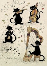 bug art H020 Four Cool Cats greeting card, playing musical instruments. Cat art by Jane Crowther.