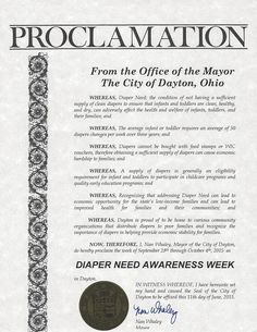 Dayton, OH - Mayoral proclamation recognizing Diaper Need Awareness Week (Sept. 28 - Oct. 4, 2015) #DiaperNeed www.diaperneed.org