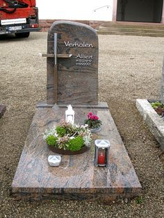 Tombstone Designs, Grave Decorations, Memorial Stones, Altar, Funeral, Yard, Mom, Hand Embroidery Stitches, Furniture