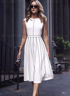 Dress - $51.99 - Stripe Skater Sleeveless Midi A-line Dress (1955249781)