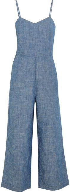 b539aadfdcfdd J.Crew Roadrunner Cotton-Chambray Jumpsuit Blue Jean Jumpsuit