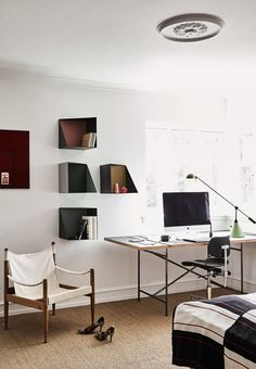 Modern home office with simple furniture from Please Wait to be Seated.