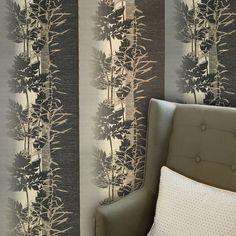 L463-10 Leaf Print Stripe Wallpaper