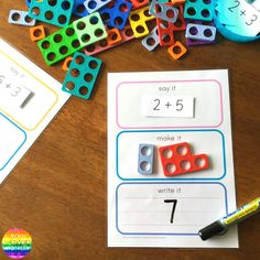 Say It Make It Write It For Maths - how to use this FREE printable for simple addition using Numicon Maths Eyfs, Eyfs Classroom, Year 1 Classroom, Early Years Classroom, Kindergarten Math, Teaching Math, Primary Teaching, Math Addition, Simple Addition