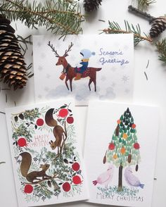 Christmas card set, 3 christmas card set with watercolour illustrations, 3 woodland christmas cards set