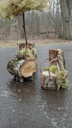 Fairy chairs and table and moss umbrella set.