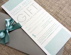 Letterpress Gift Certificate, via Etsy.
