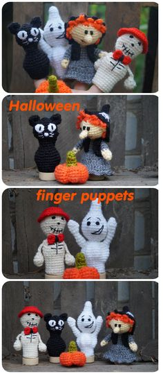 Halloween finger puppets, Halloween toys, Halloween gifts for kids, Halloween baby gifts, Halloween party favors  Halloween gift, baby shower, plush toy, halloween decoration, unique baby gift,  crochet witch, stuffed puppets, spooky toys, skeleton toy, crochet ghost. Finger Puppets are great gifts for kids. They are funny and amazing. Game with finger puppets develops children's imagination.  The set of finger puppets includes: - Skeleton - black cat - ghost - witch