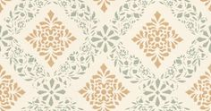 Dellen (006-11) - Duro Wallpapers - A delicate diamond trellis design shown in cream with yellow and green with a hand painted effect. Other colours available. Please request a sample for true colour match.