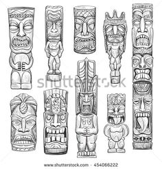 Vector collection of sketches Hawaiian tiki idols