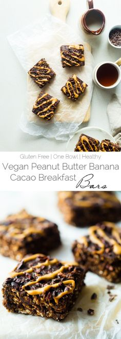 Vegan Banana Cacao Peanut Oatmeal Breakfast Bars - These gluten free oatmeal breakfast bars are made in one bowl! They're a healthy, easy, on-the-go breakfast that is vegan friendly and perfect for busy mornings or snacks!   Foodfaithfitness.com   @FoodFaithFit