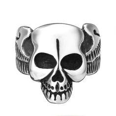 Punk Stainless Steel Skull Head Ring