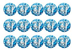 Printed edible toppers, perfect for decoration for a 21st birthday cake, cupcakes or cocktails etc. Can be used as cupcake toppers, cake toppers, cocktail toppers, pie toppers and dessert and icecream decorations. Order today before 10am and qualify for next day delivery. Buy now!