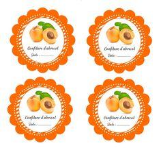 Jolies étiquettes rondes pour confiture d'abricot gratuites à imprimer Printable Labels, Free Printables, Jam Label, Jar Packaging, Cross Stitch Kitchen, Pots, Jam Jar, Yummy Cookies, Diy And Crafts