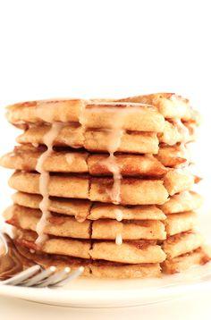 Fluffy Vegan Cinnamon Roll Pancakes!