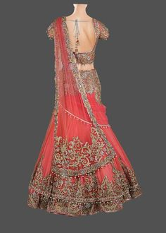 Featuring a peach & coral double layer net lehenga, with zircon, pearl, zari, and stone hand embroidery. The skirt is finished with silk, cancan, and satin