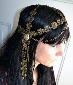 Art Nouveau Goddess Chain Headpiece Head Chain by ravenevejewelry, $89.00