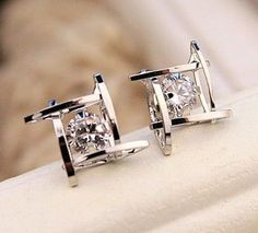 Zircon stud earrings for women bijoux gold / platinum plated earring new fashion jewelry