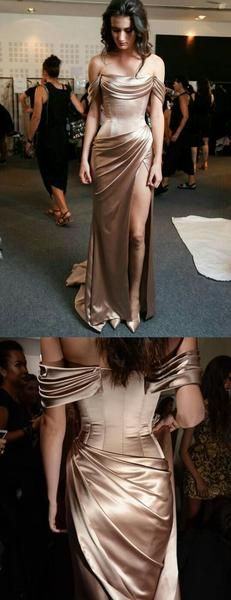 Charming Simple Pleating Satin Silt Off Shoulder Prom Charmante einfache Plissee Sat Satin Gown, Satin Dresses, Nice Dresses, Formal Dresses, Cool Prom Dresses, Homecoming Dresses, Bridesmaid Dresses, Wedding Dresses, Debut Gowns