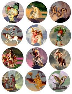 vintage fairytale fable clip art digital download collage sheet 2.5 inch circles printable graphics images scrapbooking altered art prints