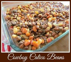 Cowboy Calico Beans {beans and meat combine in a flavorful sauce to make a filling dish!}