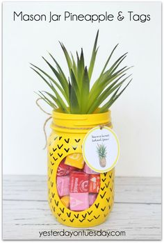 50 Crafts for Teens To Make and Sell - Crafts to Make and Sell – Mason Jar Pineapple and Tags – Cool and Cheap Craft Projects and DIY - Pot Mason Diy, Mason Jar Gifts, Gifts In Jars, Summer Diy, Summer Crafts, Funny Summer, Spring Summer, Jar Crafts, Diy And Crafts