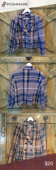 F21 Plaid Coat Nice grey wool coat with a bit of orange and blue excellent condition no rips or stains double-breasted has buttons for Hood not included Forever 21 Jackets & Coats