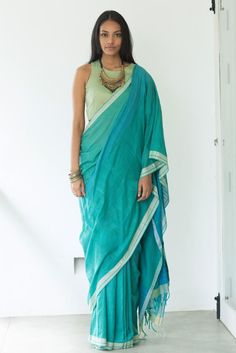 Caribbean Wave -Shipping from August- Order Now Traditional Sarees, Traditional Outfits, Saree Blouse Designs, Blouse Styles, Simple Sarees, Saree Look, Elegant Saree, Latest Sarees, Handloom Saree