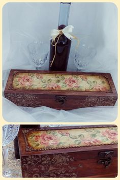 Skrzynka na wino, decoupage Decoupage Box, Gisele, Stencil, Boxes, Decorated Boxes, Wood, Xmas, Crates, Stenciled Table