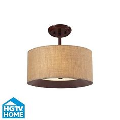 "Nathan Collection 3-Light 15"" Dark Walnut Semi Flush With Wheat Linen Shade 14140/3"
