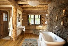 Bathroom~ love the wall