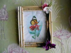 Bamboo tiki photo picture frame wall decor hawaiian exotic tropical flowers luau rockabilly retro