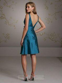 Amazing Sheath / Column V-neck Short / Mini Taffeta Blue Bridesmaid Dresses - $113.99 - Trendget.com