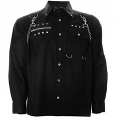 Attitude Clothing - Alternative, Gothic, Punk, Rock Clothing, Shoes, Brands + Accessories - Dead Threads Chain Stud Men's Longsleeve Shirt