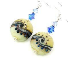 Blue Ivory Earrings Lampwork Earrings Glass ♥ by BeadzandMore, $26.00