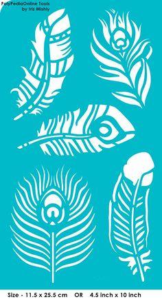 """Plantilla plantillas plantillas """"Plumas, pluma de pavo real"""", autoadhesivo, flexible, para la arcilla polimérica, tela, madera, vidrio, tarjeta que hace"""