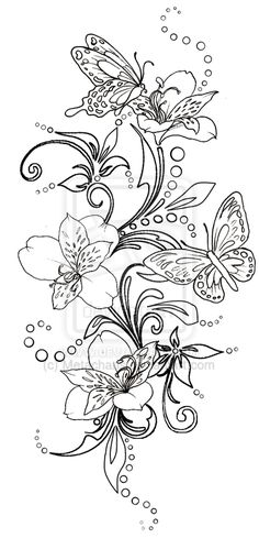 Butterflies and Flowers with Swirls Tattoo by Metacharis.deviantart.com on @deviantART