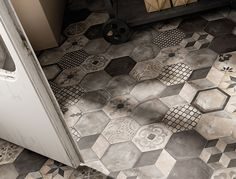 Our brand new Illustrate range, which features plain tiles in a range of chalky neutrals, but also a whole host of these fabulous patterns! Combination of patterns and plain tiles creates interest. The muted greys are easy on the eye. Floor Patterns, Tile Patterns, Floor Design, Tile Design, Modern Flooring, Unique Flooring, Hexagon Tiles, Hex Tile, Tiling