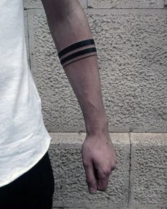 Best Tattoo Trends - Mens Two Black Band With Thin Solid Line Tattoo On Forearm. tattoos Tattoo Trends – Mens Two Black Band With Thin Solid Line Tattoo On Forearm…