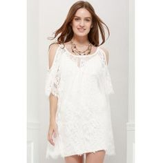 Ladylike Scoop Neck Off-The-Shoulder Lace See-Through Dress For Women