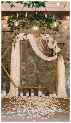 Southern Home Decor Hexagon wedding arch with neutral flower geometric wedding ideas.Southern Home Decor Hexagon wedding arch with neutral flower geometric wedding ideas Indoor Wedding Ceremonies, Wedding Altars, Wedding Ceremony Decorations, Decor Wedding, Wedding Scene, Wedding Church, Wedding Reception Decorations Elegant, Party Wedding, Wedding Draping