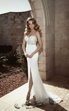 Sweet Lace Adorn Bodice Sweet Heart neckline A line Slit Front Middle Wedding Dresses Strapless 2014 New Best Sellers $299.00