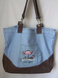 Life is Good Light Blue and Brown Canvas Tote Bag Large Distressed #LifeisGood #Totes #Shoppers